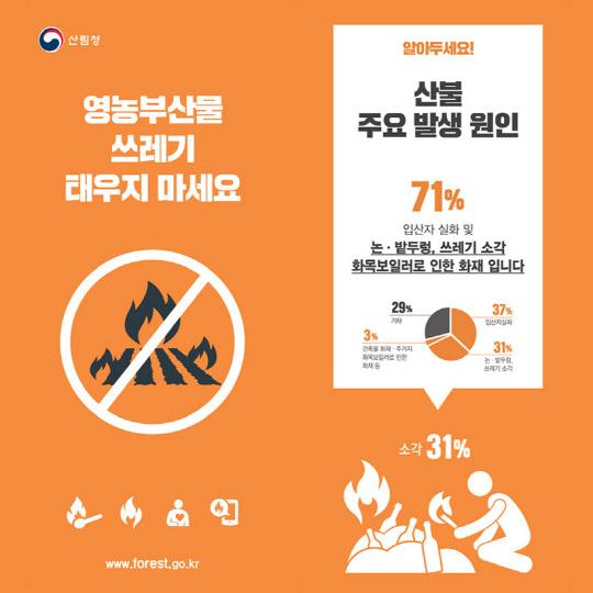 산림청, 산불 주요 원인 '불법소각' 기동단속 연장